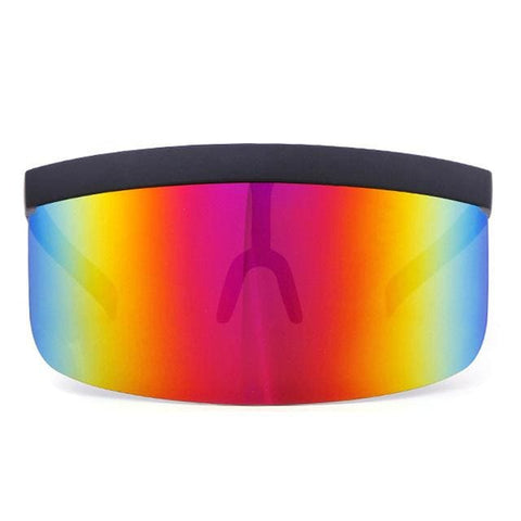 JAZZ Flat Top Shield Visor - Black-Red Mirror - Sunglasses