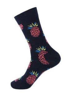 Men's Socks - PINEAPPLE Fun Purple Men's Crew Socks