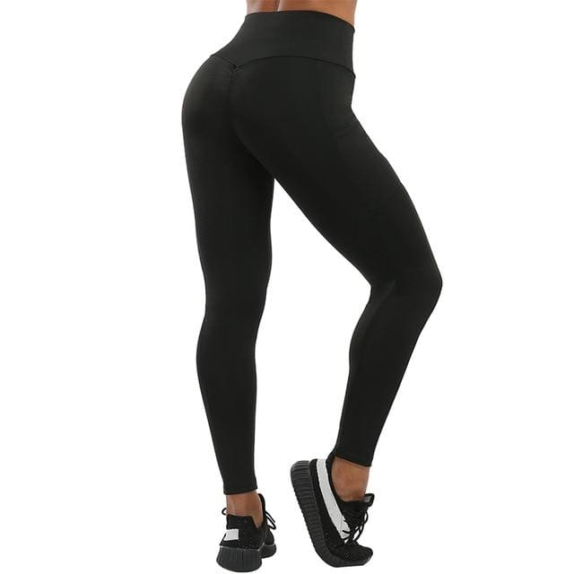 VIVID High Waist Pocket Leggings - Black / L - Women Workout Leggings