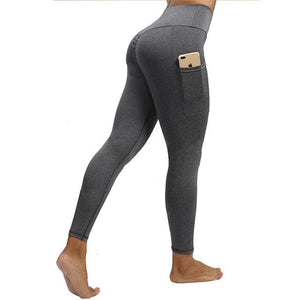 VIVID High Waist Pocket Leggings - Gray / L - Women Workout Leggings