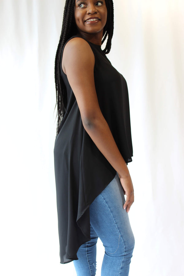 Black Long Tank Blouse