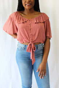 Rust Tie Front Button Down Top