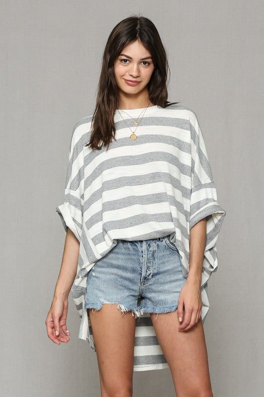 Grey Striped Oversize Top