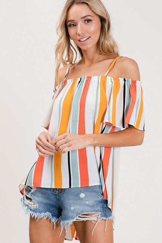 Circus Print Cold Shoulder Top