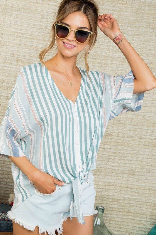 Green/Blue Stripe Tie Top