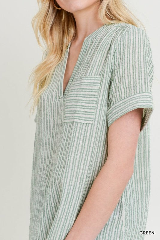 Green Stripe Tunic Blouse