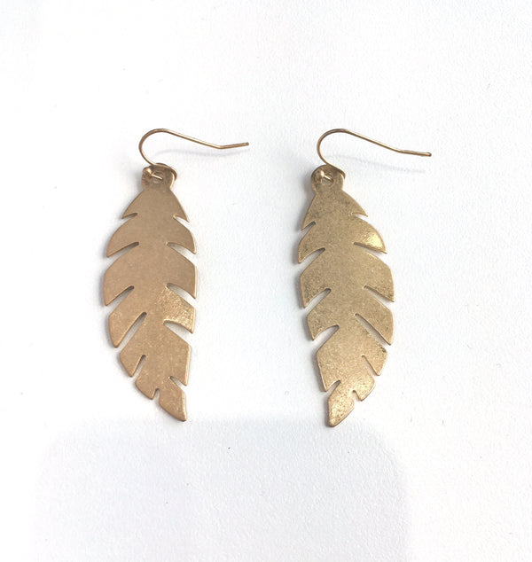Gold Feather Dangles