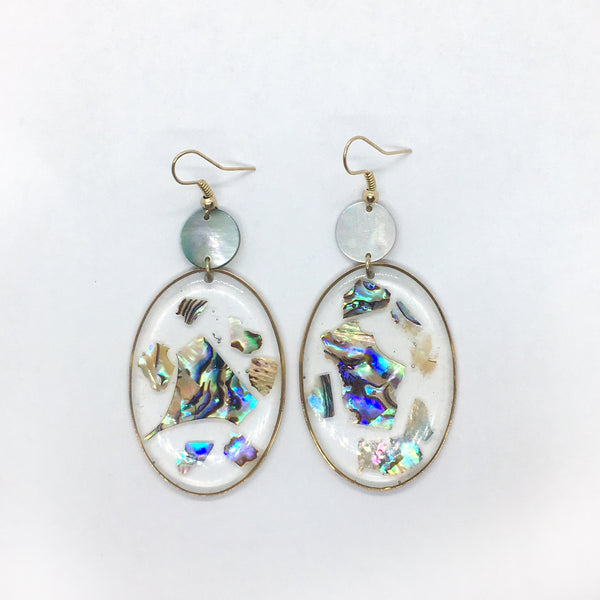 Abalone Shell Fragment Earrings