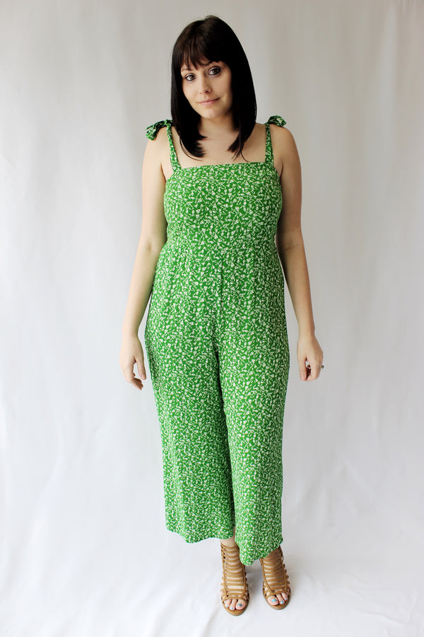 Bright Green Floral Jumpsuit