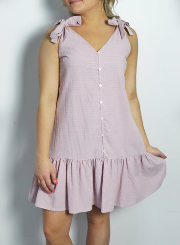 Lavender Bow Strap Dress