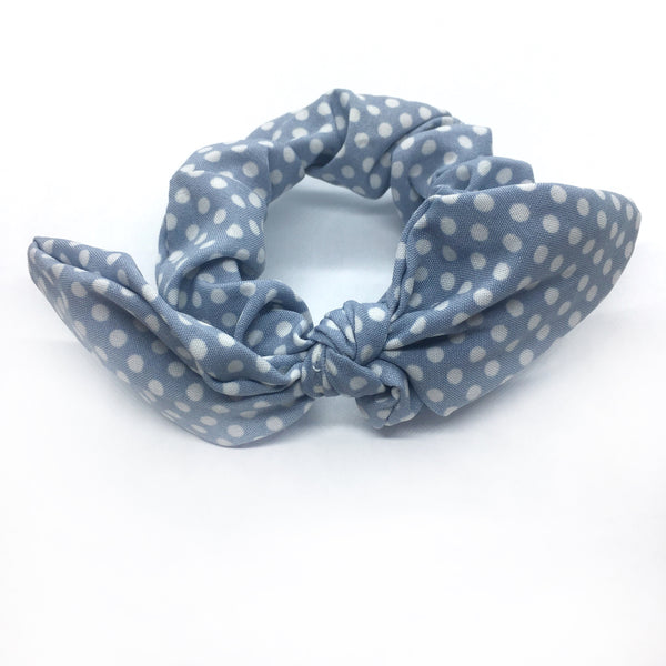 Blue Polka Dot Tie Scrunchie