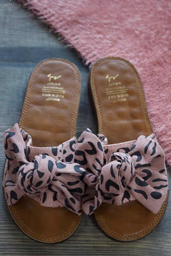 Pink Leopard Bow Sandals