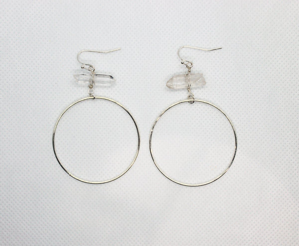Crystal Silver Hoops