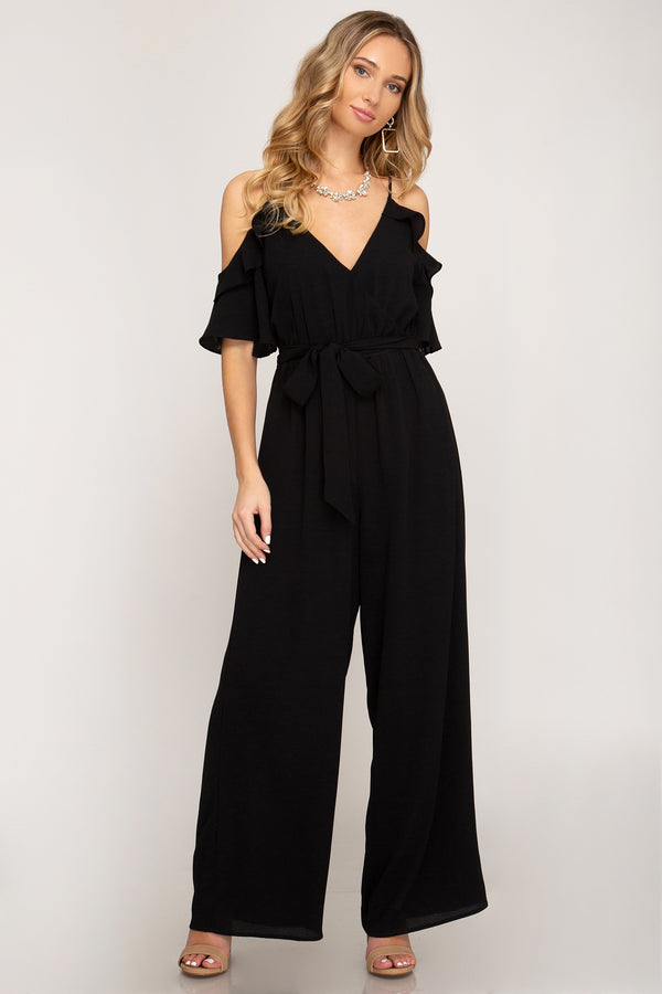 Black Ruffle Cold Shoulder Jumpsuit