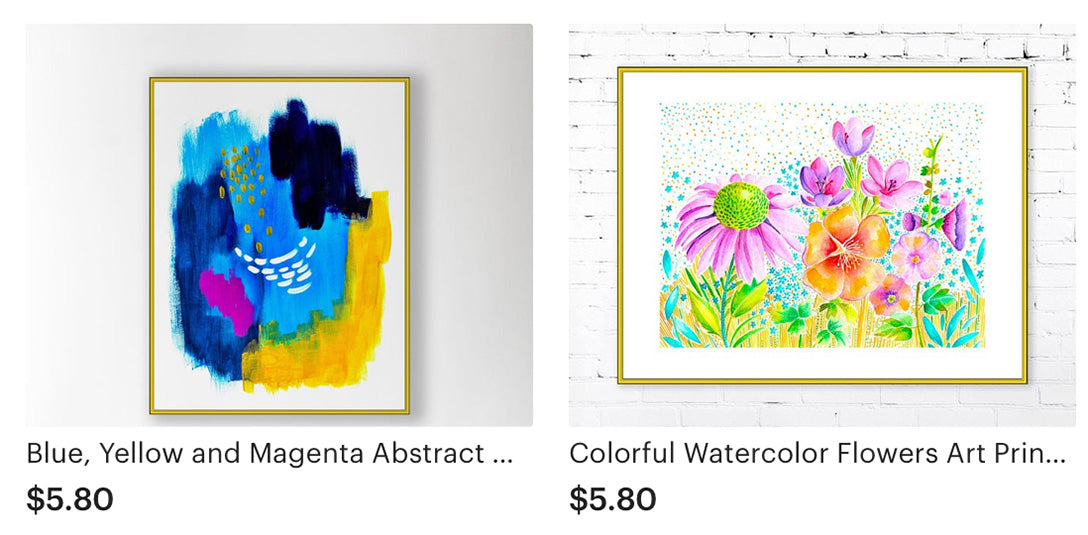 Abstract Art in Blue and Yellows and Watercolor Floral Art