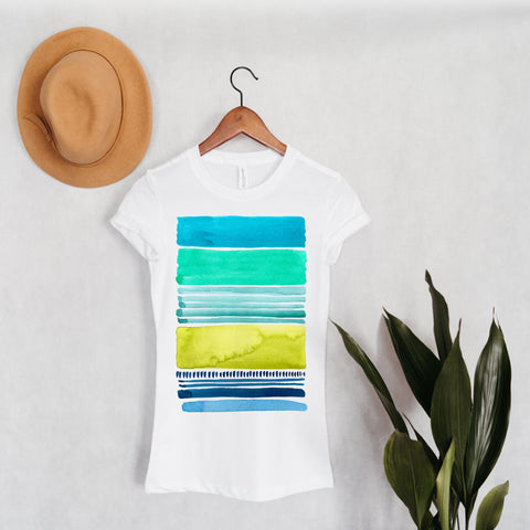 Watercolor Lines - Bella+Canvas -SLIM FIT- Long Body T-Shirt