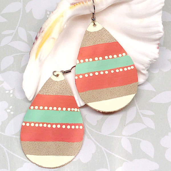 Hand Painted Earrings - Mint, Coral, Cream