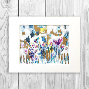 Abstract Floral II - Unframed, Matted to Standard Frame Size
