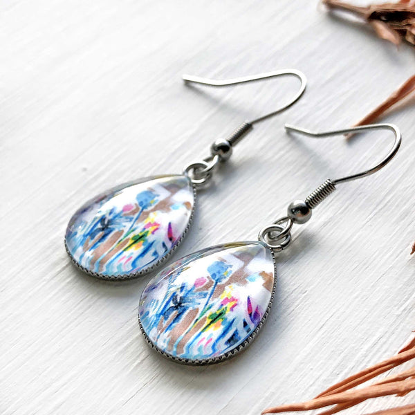 Abstract Floral - Stainless Steel Earrings