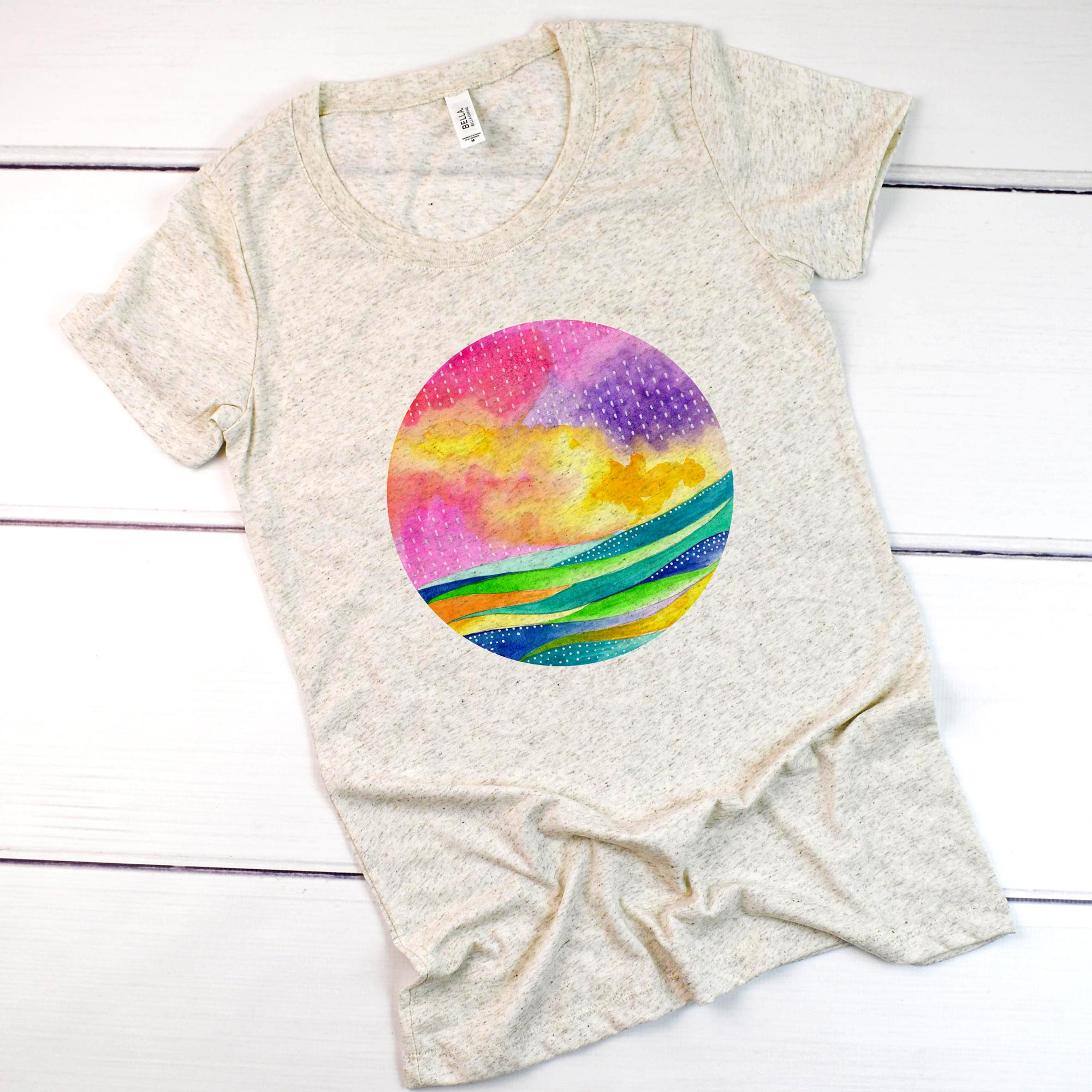 Abstract Seascape Circle **FORM FITTING** Bella + Canvas Ladies' Short Sleeve T-Shirt