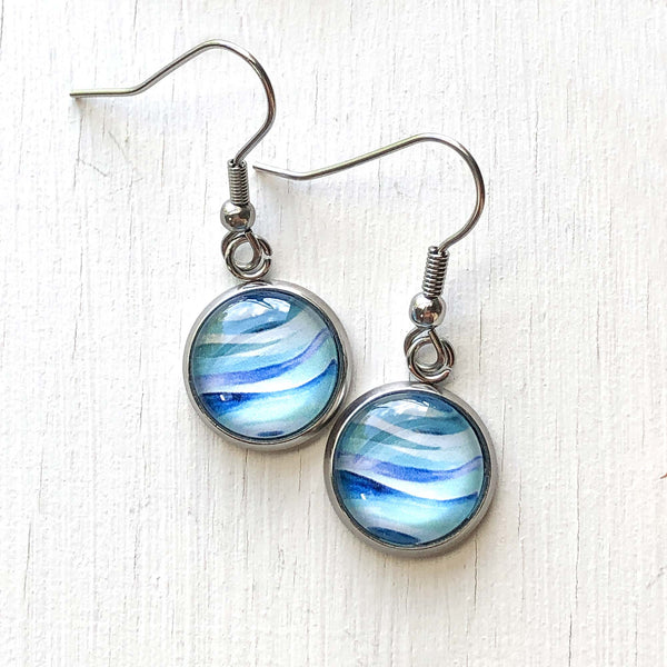 Abstract Seascape Circle - Dangle, Stud or Leverback Earrings