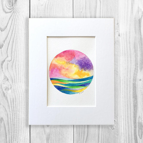 Abstract Watercolor Circle III - Unframed, Matted to Standard Frame Size