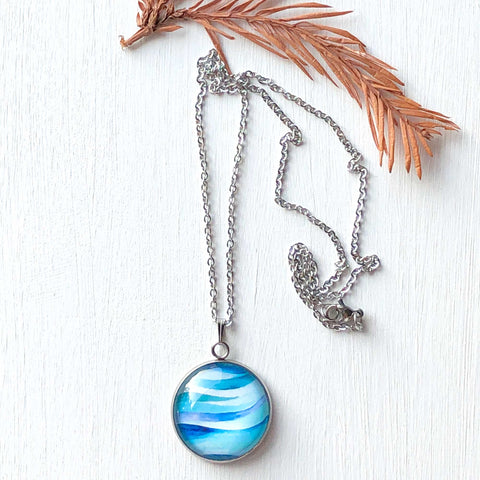 Abstract Seascape Circle - Stainless Steel Necklace