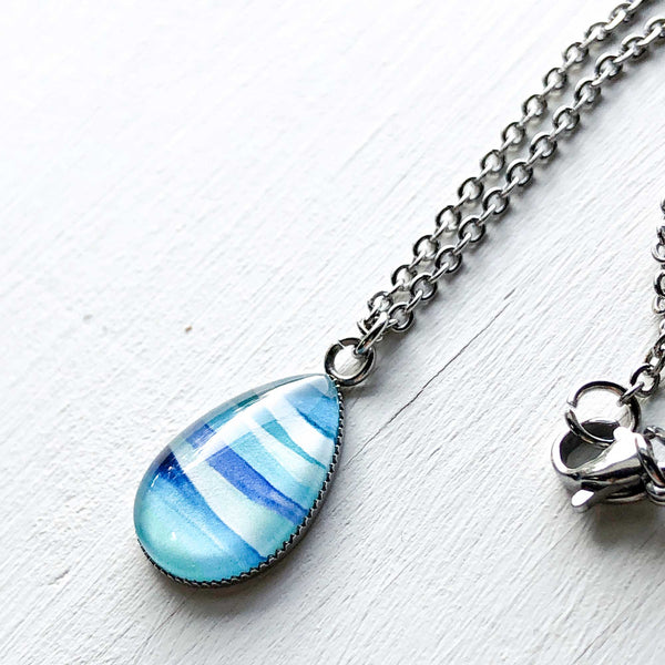 Abstract Seascape Circle - Stainless Steel Teardrop Necklace or Set