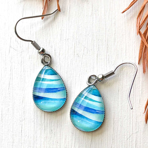 Abstract Seascape Circle - Stainless Steel Earrings