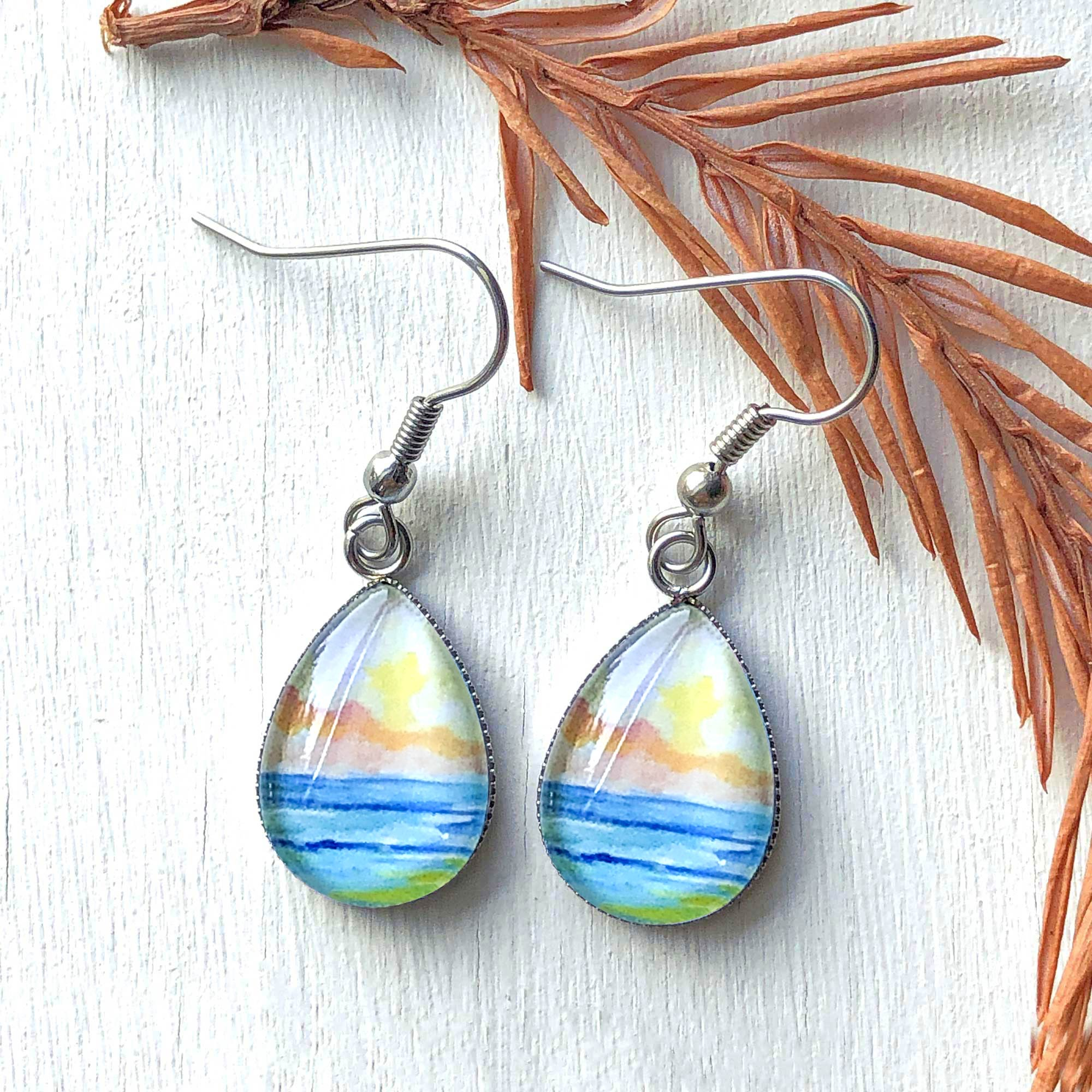 Abstract Seascape I - Stainless Steel Earrings