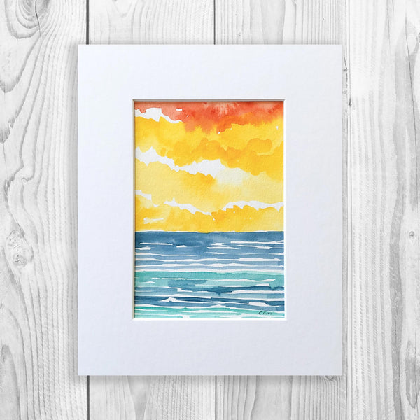 Abstract Watercolor Seascape VI - Unframed, Matted to Standard Frame Size