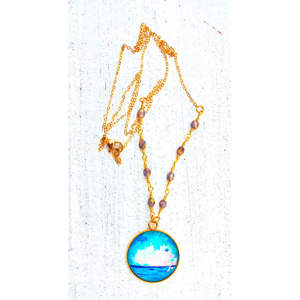 Abstract Seascape X- Gemstones and Wirework Necklace