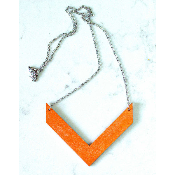 Hand Painted V Shape Necklace - Abstract V-1