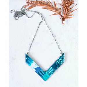 Hand Painted V Shape Necklace - Abstract V-2