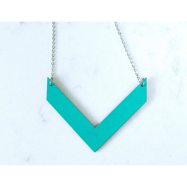 Hand Painted V Shape Necklace - Abstract V-3
