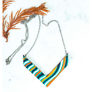 Hand Painted V Shape Necklace - Abstract V-4
