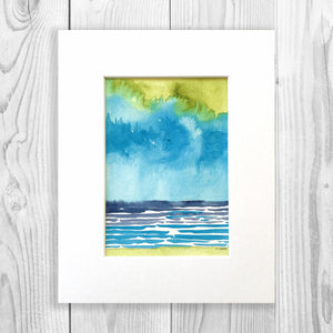 Abstract Watercolor Seascape - Unframed, Matted to Standard Frame Size