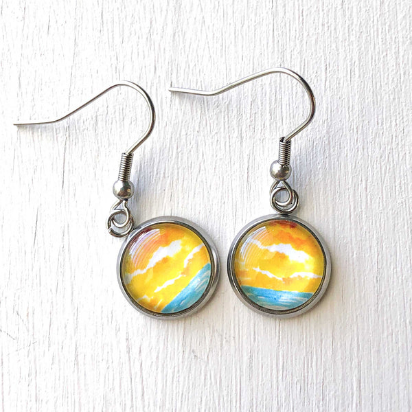 Abstract Watercolor Seascape VI - Dangle, Stud or Leverback Earrings