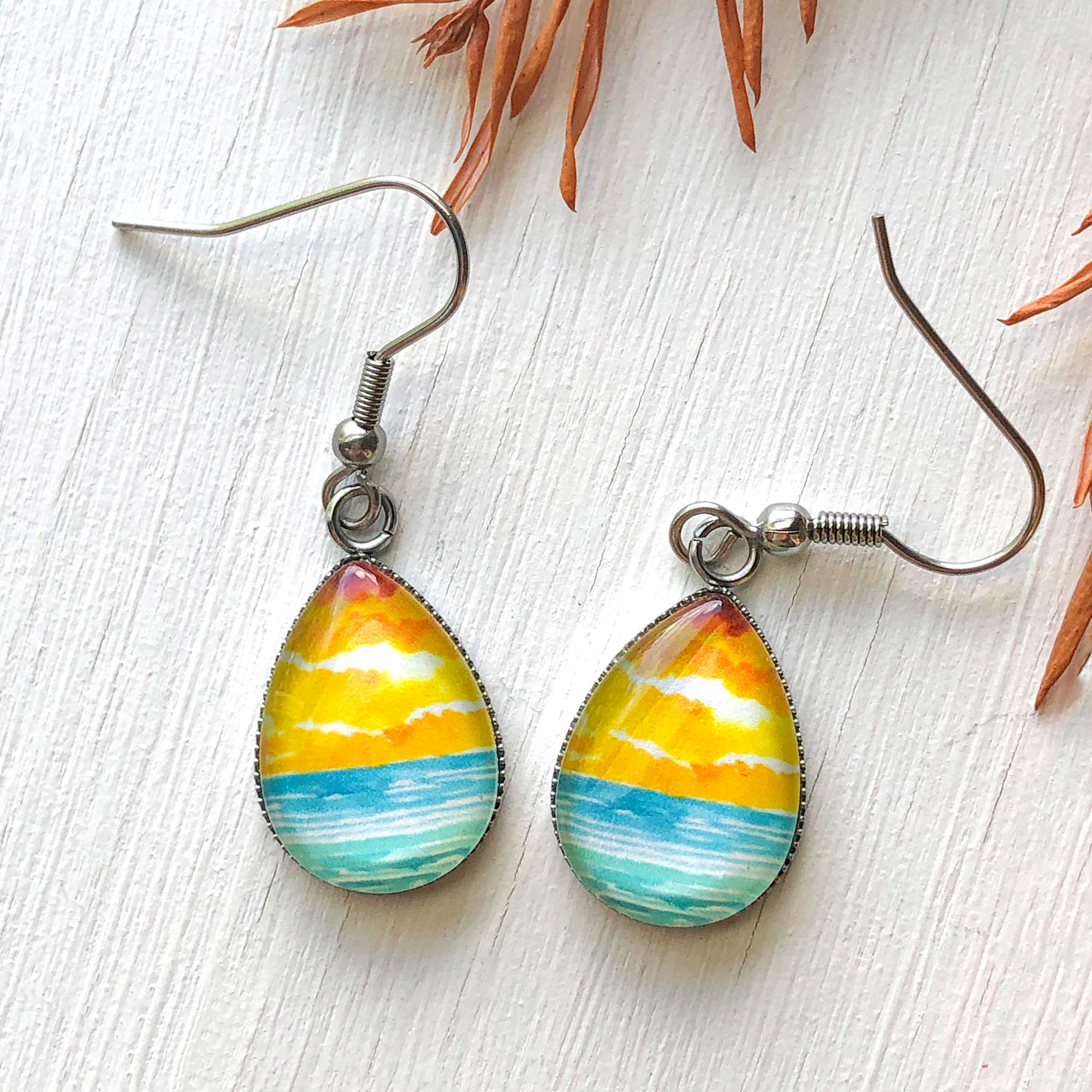 Abstract Watercolor Seascape VI - Stainless Steel Earrings