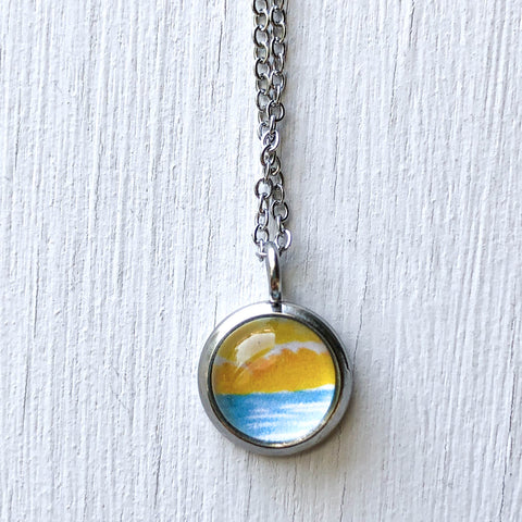 Dainty Necklace - Abstract Watercolor Seascape VI