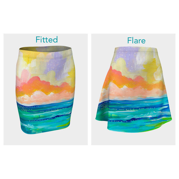 Abstract Seascape I Skirt (Fitted or Flare)
