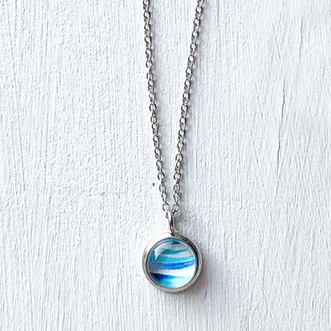 Dainty Necklace - Abstract Seascape Circle