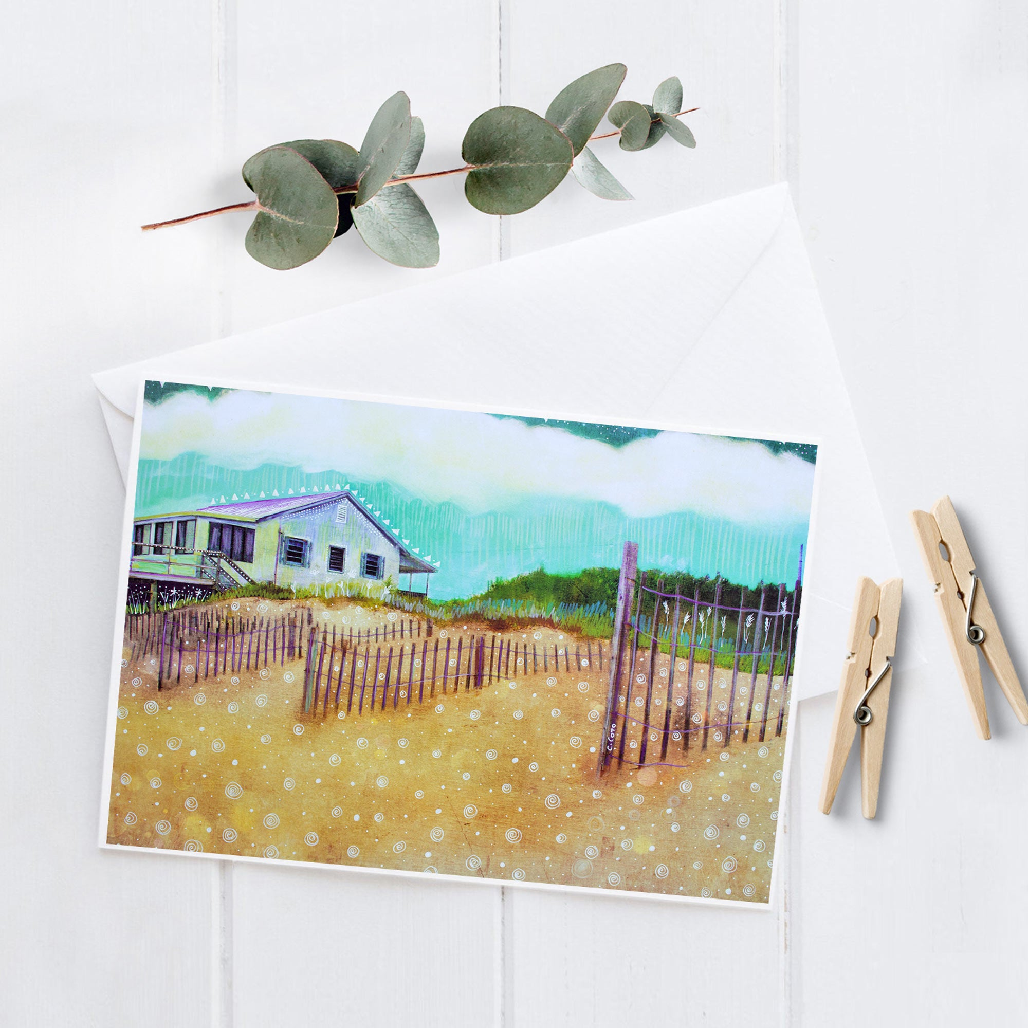Beach Cottage - 5x7 Notecard