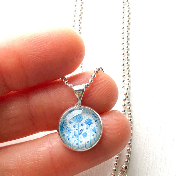 Blue Floral - Small Round Necklace
