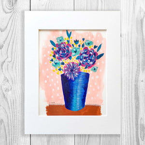 Blue Flower Vase - Unframed, Matted to Standard Frame Size