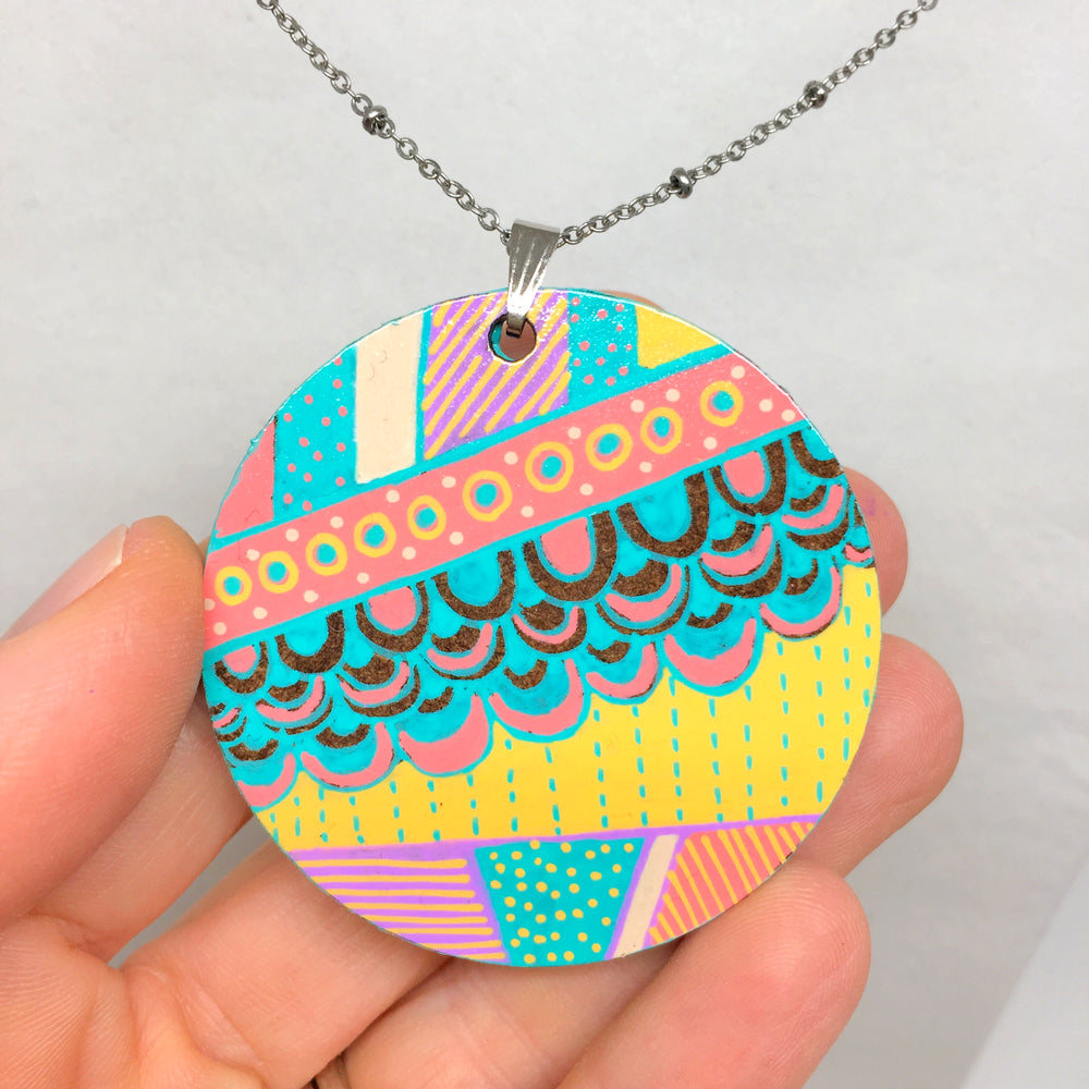Hand Painted Pendant - Boho Circle I
