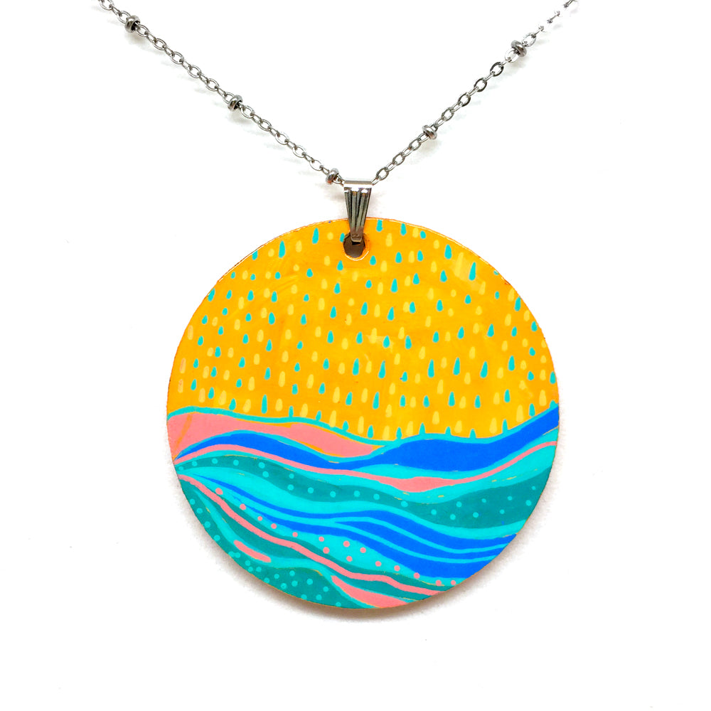 Hand Painted Pendant - Ocean Circle