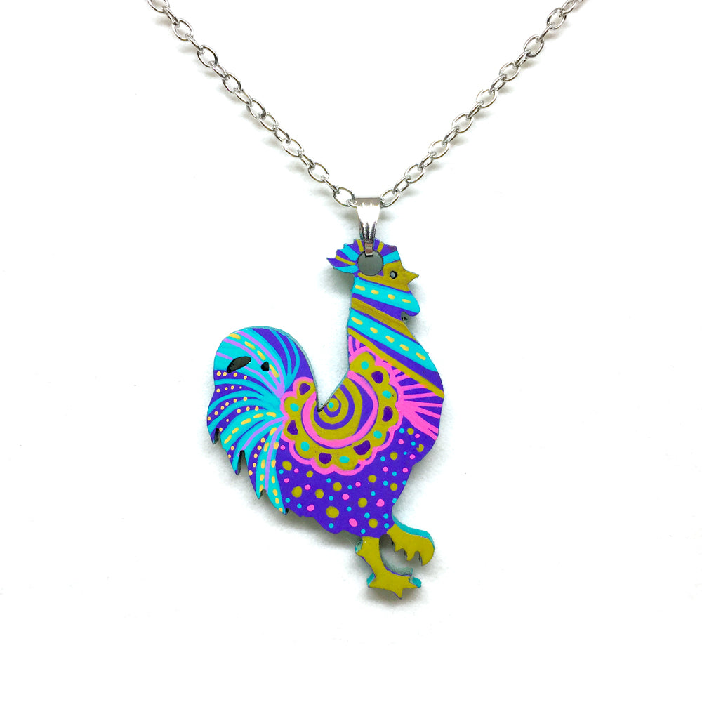 Hand Painted Pendant - Boho Rooster I
