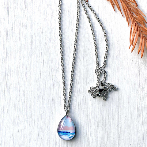 Candy Seascape - Stainless Steel Teardrop Necklace or Set