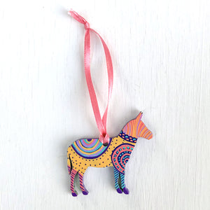 Hand-Painted Christmas SMALL Ornament - Christmas Donkey II